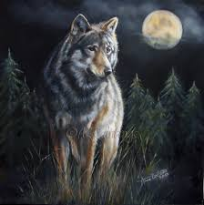 s moon wolf and moon original original painting by