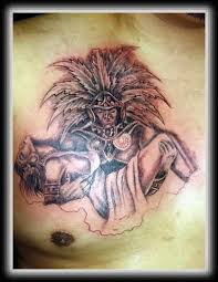 grey ink aztec with princess tattoo on chest tattooshunter com