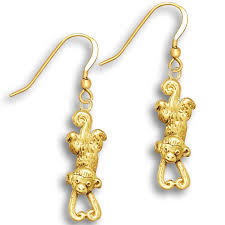 hanging earrings 14k solid gold hanging monkey earrings monkey jewelry