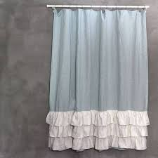 Ruffled Shower Curtains Vintage Washed Layered Tow Tones Ruffles Linen Shower Curtain