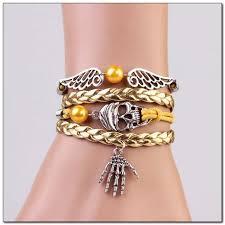 vintage infinity bracelet images Mkd vintage infinity skeleton skull women 39 s leather bracelet jpg