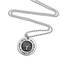 family tree necklace with quote