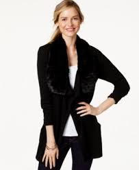 sweater with faux fur collar rag cable knit cardigan sweater with faux fur collar