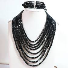 black necklace with crystal images Hot fashion black crystal glass 4x6mm beads jewelry set 8 rows jpg
