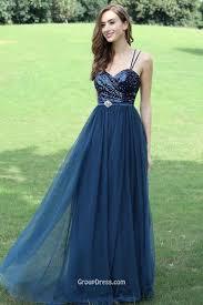 sequin slim straps dark blue ruched a line long prom dress