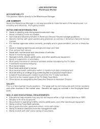 Cosmetologist Job Description Resume by Warehouse Worker Job Description Resume Resume For Your Job