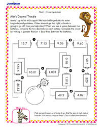 alex u0027s decimal trouble printable 5th grade math worksheet