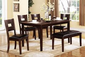 rectangle espresso dining table for 6 with benches also black fake