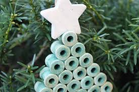diy tree ornament from wood spools darice crafts