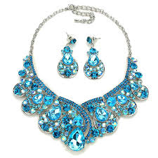 blue crystal statement necklace images Glam aurora icy blue teardrop crystal embellished statement jpg