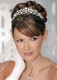 half up half down wedding hairstyle with tiara