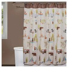 Cloth Shower Curtains Camping Critters Fabric Shower Curtain Brown White Saturday