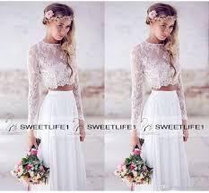 wedding tops discount 2016 hot sale two pieces lace top chiffon skirt