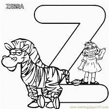 abc letter zebra sesame street prairie coloring pages 7