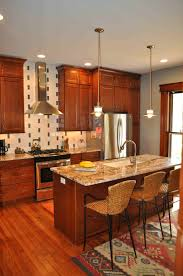 Cherry Wood Kitchen Cabinets Decoration Ideas Fantastic Cream Polished Marble Counter Top In