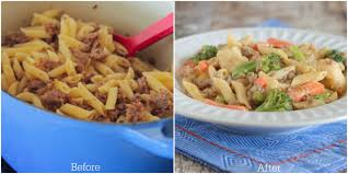 Laura In The Kitchen Pasta Weeknight Sausage And Cheesy Vegetable Penne Pasta Picky Palate