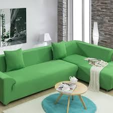housse pour canapé d angle vert stretch housse de canapé pour le salon unique trois