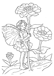 flower fairy zinnia coloring page for kids for girls coloring