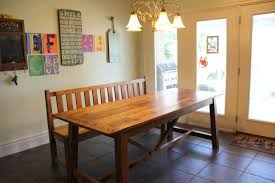 spanish trestle oak dining table and bench reclaimed wood