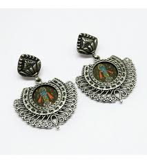 silver earring silver jewelry painting glass oxidized silver earring silver