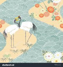 seamless pattern birds crane heron japanese stock vector 433419046