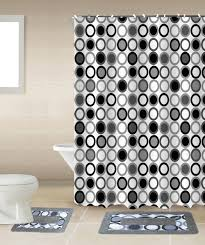 Black And White Polka Dot Curtains Amazon Com Mitosis 15 Piece Circles Bathroom Accessories Set Rugs