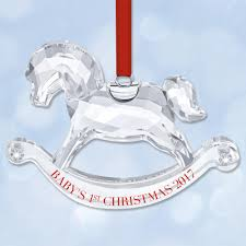 2017 swarovski baby u0027s first christmas rocking horse crystal