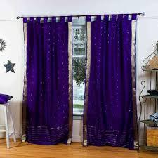 Tab Top Sheer Curtain Panels Maroon Tab Top Sheer Sari Curtain Drape Panel Pair Indian