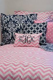 Dorm Bedding For Girls by Girly Blue Custom Damask Duvet And Sham Set With Pink Dorm