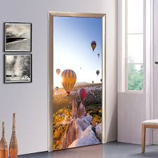 creative diy 3d door stickers air balloon travel pattern for