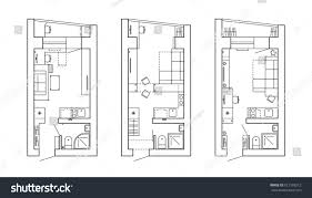 architectural plan house layout apartment furniture stock vector
