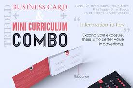 Business Cards Mini Trifold Business Card U0026 Cv Combo Templates Description Trifold