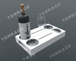 rectangular lucite acrylic wine serving tray with glass u0026 bottle