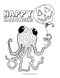 printable octopus robot halloween coloring pages inky
