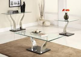 Glass Living Room Table Sets Thippo Plus Set Plus Glass Coffee End Tables Wchrome Legs