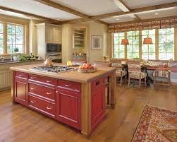 traditional galley kitchen with art deco red stained wooden stove