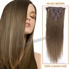 extensions clip in inch 8 ash brown clip in remy human hair extensions 12pcs