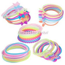 ponytail holder bracelet 100pcs luminous elastic hair bands hair rope ponytail holder