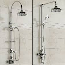 traditional designer chrome mixer shower head exposed thermostatic