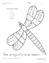 dragonfly color by number worksheet learning activities