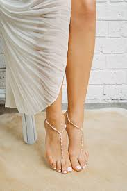 beaded barefoot sandals with pearl beads for beach weddings