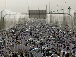 arafah thousands muslims walk mount arafat sharing