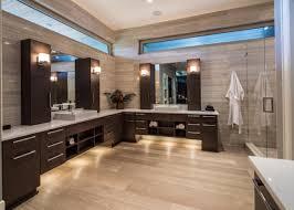 Vanity Merrick Bahtroom Alluring Walk In Shower Facing Modern L Shaped Bathroom
