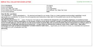 job covering letter samples toll collector cover letter