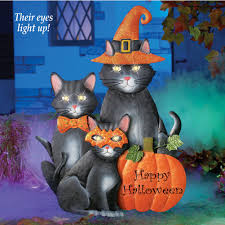 Happy Halloween Light Up Sign by Black Cats Halloween Yard Stake Prop Witch Mask Hat Pumpkins Led