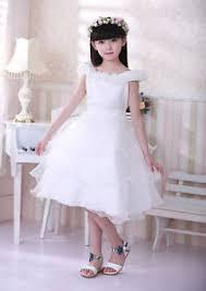girls kids long white flower wedding bridesmaid party