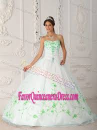 quinceanera dresses white white organza quinceanera dress with strapless and embroidery