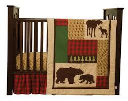 trend lab northwoods 3 piece crib bedding set red tan amazon ca