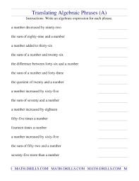 worksheet translate algebraic expressions algebraic expressions lessons tes teach translating phrases a algebra worksheet