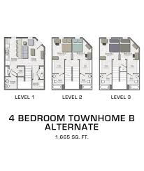 Four Bedroom Floor Plan by Floor Plans For Msu Students Student Housing In East Lansing